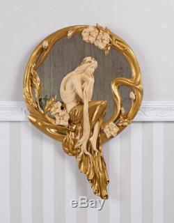 Miroir Art Nouveau Nymphe Mural Vintage Figurine Fille & Guirlande Florale