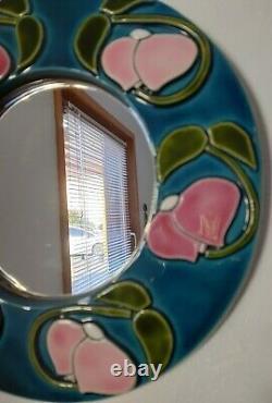 Miroir François LEMBO à VALLAURIS Pivoines stylisées Art-Nouveau Vintage