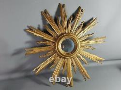 Miroir Soleil oeil de sorcière, bois doré à la feuille. Vintage 50s