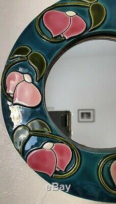 Miroir VALLAURIS François LEMBO Pivoines stylisées Art-Nouveau Vintage