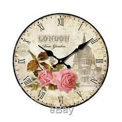 Mode Grande Horloge murale en bois Vintage Flower Rustic Shabby Home Art