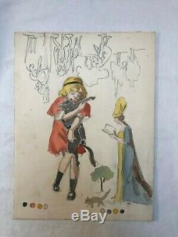 Modern Vintage Drawing Dessin Ancien Kid, Girl, Queen, Cat, illustration