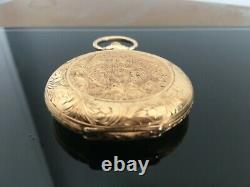 Montre de gousset OMEGA or massif, art nouveau, état parfait. Pocket watch. 69gr