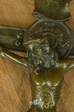 Musée Qualité Vintage Crucifix / Bronze Jésus Christ-Cross / Arts Décor Maison