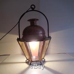N1978 lanterne cuivre éclairage XIXe vintage art nouveau fait main PN France