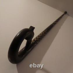 N2004 canne ébène incrustations pommeau tête oiseau vintage art déco fait main