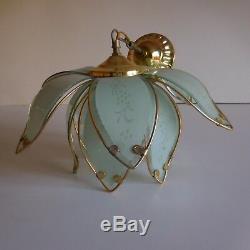 N2044 2 lustres plafonniers éclairages art nouveau rococo vintage XXe 1950 déco