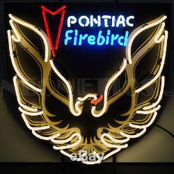 Néon Signe Pontiac Firebird Vintage Doré Capot Autocollant Art 60cm en Dos Neuf