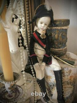 OOAK doll art, doll artist, doll, collectible doll, Arlequin, Pierrot vintage