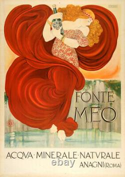 Original Vintage Italien Affiche Fonte Meo Par Nonni c1910 Art Nouveau Rare Eau