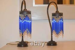 Pair vintage art nouveau table lamp bedsides Mid century crystal