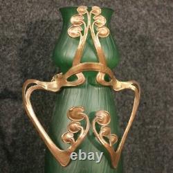 Paire de vases français de style Art Nouveau verre collection vintage métal 900