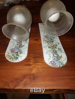 Paires Appliques Porcelaine de Paris Space Age Vintage Laiton Verre