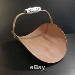 Panier buche accessoire cheminée cuivre faïence vintage art déco XX France N4104