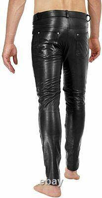 Pantalon Cuir Jean Style Pantalon Homme Vrai Pantalon Moto Taille Épais Noir 17