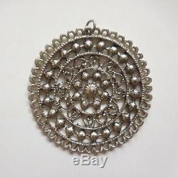 Pendentif fleur lotus mandala métal bijou accessoire vintage art nouveau N4135