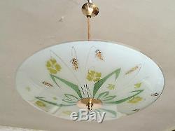 Plafonnier Vintage Coupole Gravé à l'acide Verre Bombé Lustre Décor Art Nouveau