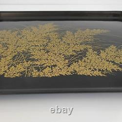 Plateau feuillage bois laqué noir or fin vintage art déco nouveau table maison