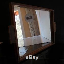 Plateau miroir verre bois fait main art déco design XXe vintage PN France N3045
