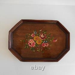 Plateau service de table bois peinture fait main vintage art nouveau France