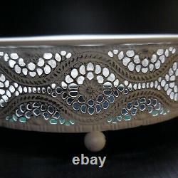 Plateau table bijou vintage art nouveau déco maison métal verre France N6674