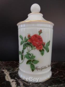 Pot verre opalin Rosa Gallica Pontiana vintage art nouveau déco XXe PN France
