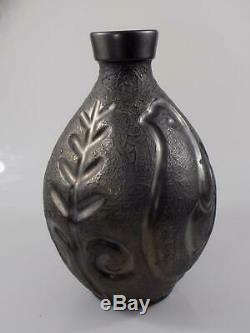 Rare Original Vintage Art Nouveau Vase Métal Animal et Floralmotiv 20. JHD