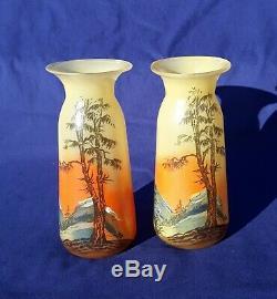 Rare Pair Legras Signed Landscape Glass Vases Art Nouveau Vintage Pate de Verre