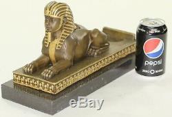 Rare Vintage Européen Finery Art Déco Égyptien Revival Bronze Sphinx Fonte