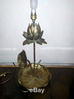 Rare lampe vintage lotus en laiton bronze. Fleur feuille Maison Charles
