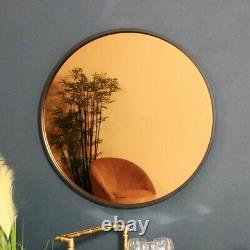 Rond Teinté Cuivre Verre Miroir Mural Rétro Vintage Moderne Art Présentation
