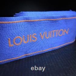 Ruban galon vintage LOUIS VUITTON LV bleu marron mode maroquinerie France N7127