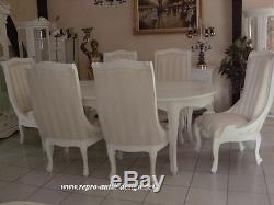 Salle à Manger Ensemble A à Chaise Blanc Baroque Style Vintage Art Neuf