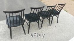 Série de 4 Chaises vintage en bois la Fanett de Tapiovaara année 60s scandinave