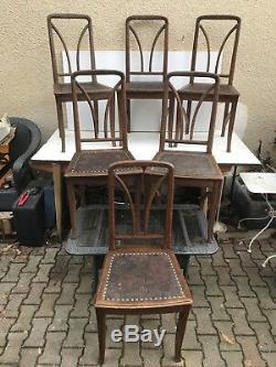 Serie de 6 Chaises Anciennes ART NOUVEAU Bois + Cuir Vintage