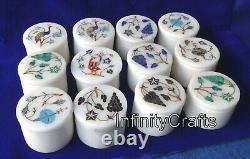 Set 12 Pièces 6.3cm Marbre Broche Boîte Blanc Multi Utilisation Avec Vintage Art