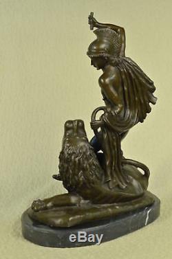 Signé Bronze Statue Métal Art Sculpture Vintage Classique Nu Romain Homme Décor
