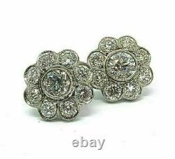 Solide 14K or Blanc 1.65Ct Diamant Rond Vintage Art Déco Boucles D'Oreilles