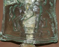Statuette De Travail D'art Abstrait En Bronze / Verre À La Main Vintage
