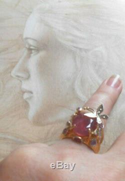Sublime bague Art Nouveau ancienne Couture vintage or argent rubis