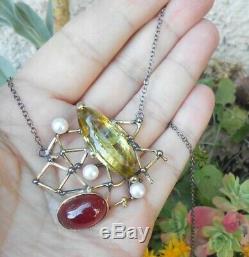 Superbe collier ancien Art Nouveau vintage or argent rubis citrine perle