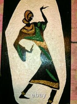 TABLEAUX sur bois sculpté et peint d'origine Israël vintage