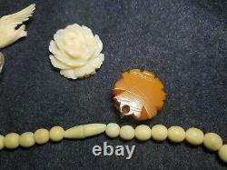 TB lot bijoux vintage collier perles en ivoire, cf. Art deco nouveau