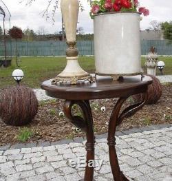 Table Gueridon d'Appoint Rond Galbe Bois Acajou Style Vintage Deco Art Nouveau