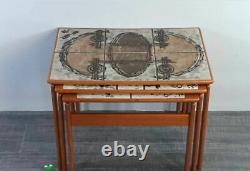 Tables gigognes Danoises en Teck et céramique par OX Art, Vintage Scandinave
