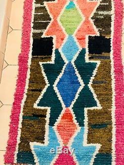 Tapis boucherouite vintage avec dessins berbères moroccan