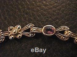 Tres Beau Bracelet Art Deco Vintage Neuf Argent 925 & Et Pierres Fines 17 Grs