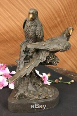 Unique Vintage Bronze Perroquet Sculpture Antique Qualité Artwork Art Déco