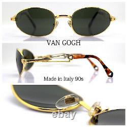VAN GOGH 41 Made IN Italy Lunettes de Soleil Homme Femme Ovale Or Vintage 90s
