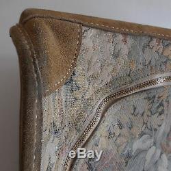 Valise cuir tapisserie style Art nouveau voyage vintage Belle époque PN France